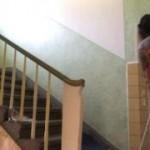 Ts -Amal wischt nackt den Flur und  pisst in die Tonne der Nachbarschaft